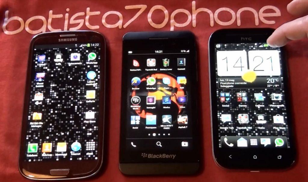 BlackBerry Z10 vs Samsung Galaxy S3 vs HTV One SV